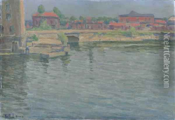 Port W Gdansku Oil Painting - Jan Wladyslaw Baranski