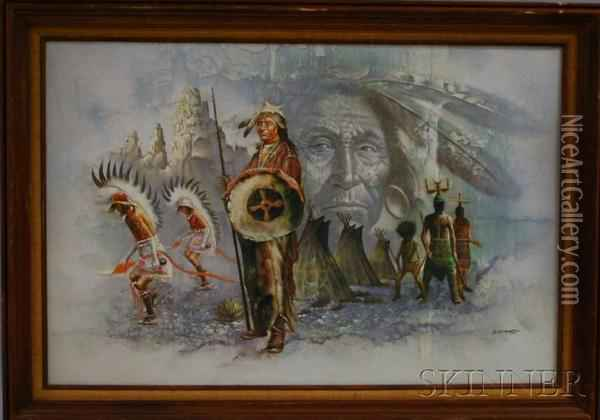 Indian Chief Oil Painting - G. Bogard