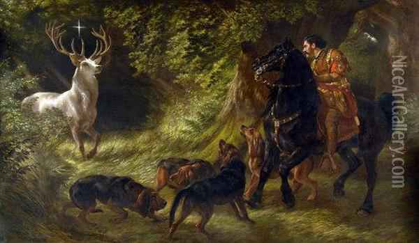 Legend Of St Hubert Oil Painting - Samuel John Carter