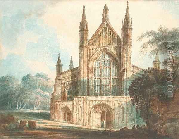 Winchester Cathedral Oil Painting - James Cave