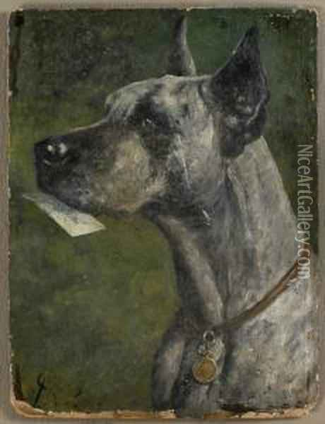 Great Dane Oil Painting - Cassius Marcellus Coolidge