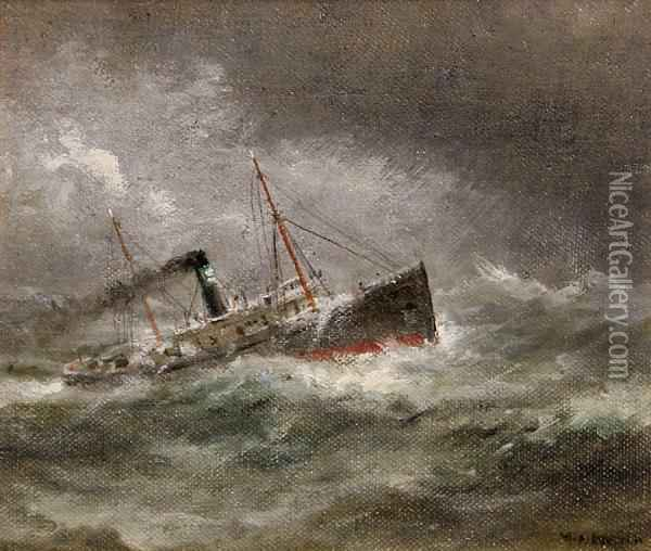 ship on rough seas oil painting reproduction by william