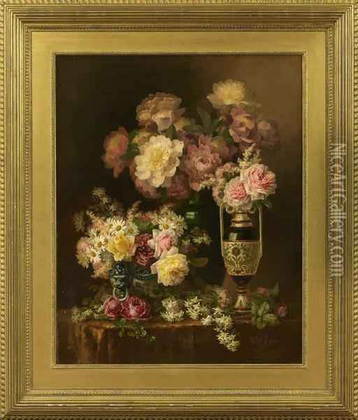 Still Life With Roses Oil Painting - Paul De Longpre