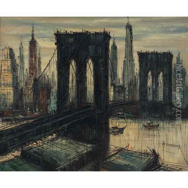 Brooklyn Bridge Oil Painting - H. Duchamp