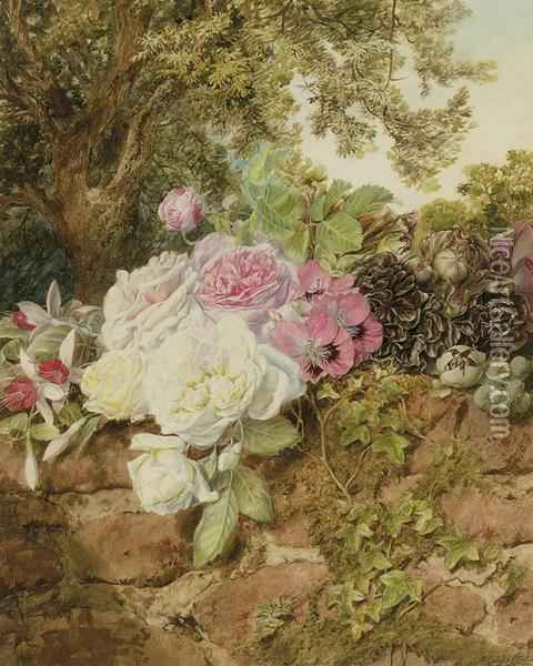 Roses, Fuschia, Poppies And Hollyhocks On A Brick Wall Oil Painting - Mary Elizabeth Duffield