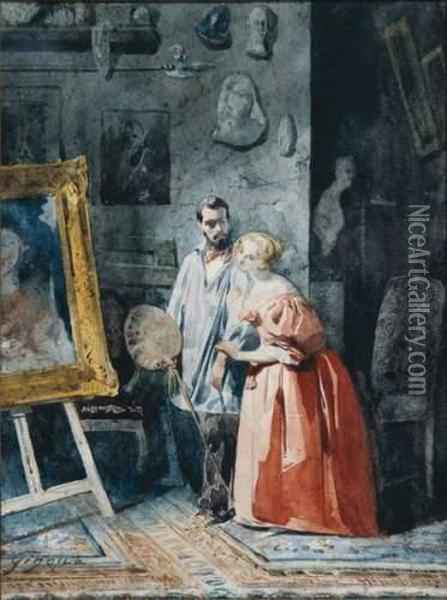 Le peintre et son modele oil painting reproduction by jean for Bernard peintre