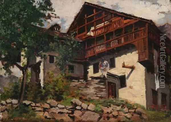 Case rustiche a campertogno oil painting reproduction by for Case rustiche
