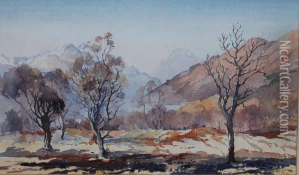 Herriot, Watercolour, Winter Nearrowardennan, Signed, 30 X 50cm Oil Painting - James Herring