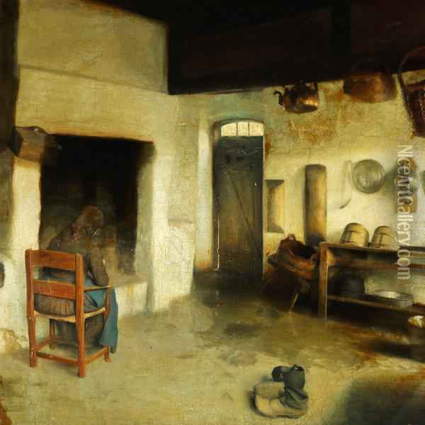 Interieur fra et kjokken oil painting reproduction by carl for Carl stuer interieur