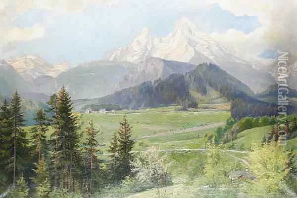 The Watzmann, Germany Oil Painting - Herman Kiekebusch
