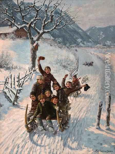 Children Sledding Oil Painting - Theodor Kleehaas