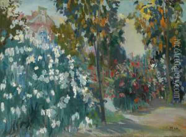 Garden Of The Instituto Pedro Mata Oil Painting - Joaquin Mir Trinxet