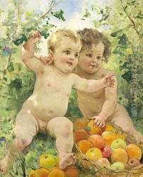 Two children with a fruit basket