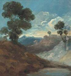 Trees in an extensive landscape, a sketch