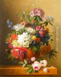 A still life of peonies, roses, honeysuckle, poppies, a crown im Oil Painting