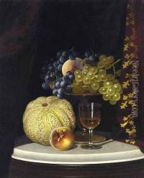 Still Life with Melon, Peach, Fruit-Filled Compote and Glass of Wine on a Marble Table Top