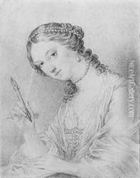 Portrait of Angelica Kauffman drawing the portrait of a man, bust-length
