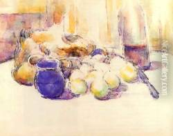 Blue Pot And Bottle Of Wine Aka Still Life With Pears And Apples Covered Blue Jar And A Bottle Of Wine