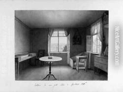 Interior of the artist's room at Lake Constance, with the lake seen through a window