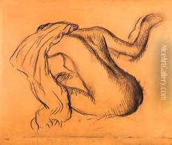 Femme nue assise, s'essuyant