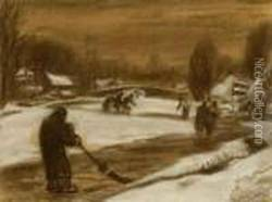 Snowy Landscape With Skaters