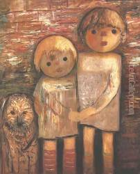 Two Children with a Dog Oil Painting