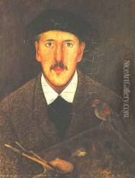 Self-Portrait with a Palette and a Bird