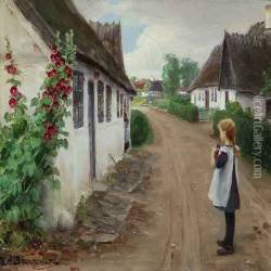 Summer Idyll In A Village With A Girl Standing In The Middel Of A Road
